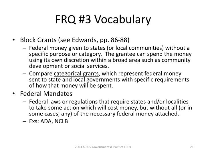 FRQ #3 Vocabulary