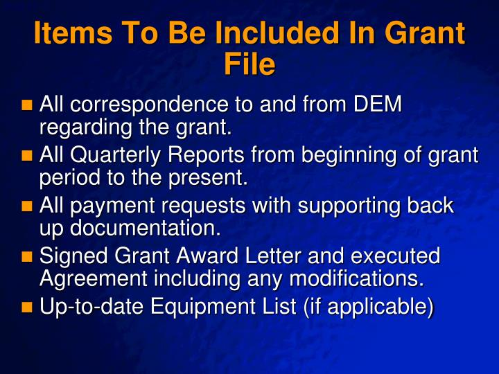 Items To Be Included In Grant File