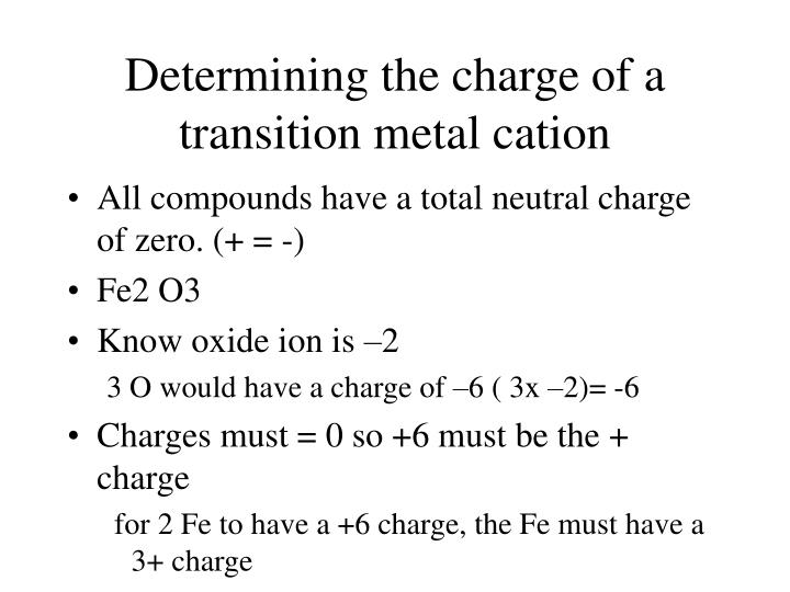 Determining the charge of a transition metal cation
