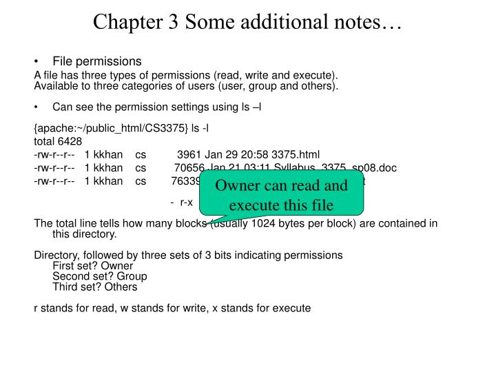 Chapter 3 some additional notes