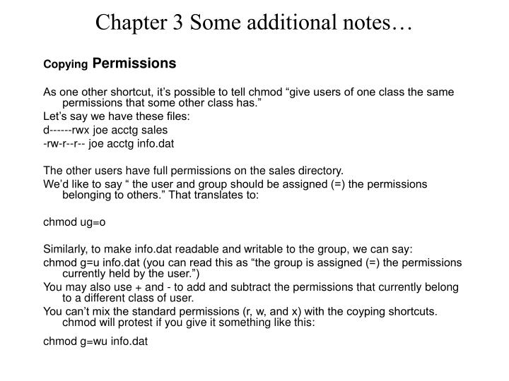Chapter 3 some additional notes1