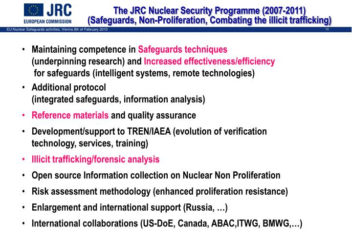 The JRC Nuclear Security Programme (2007-2011)