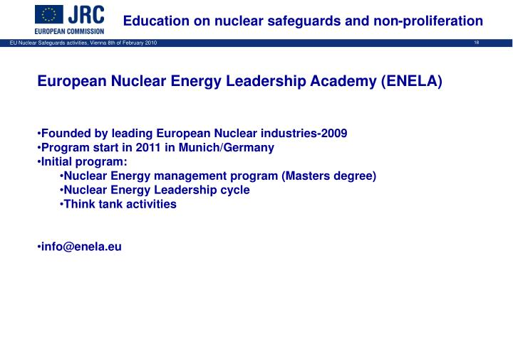 Education on nuclear safeguards and non-proliferation