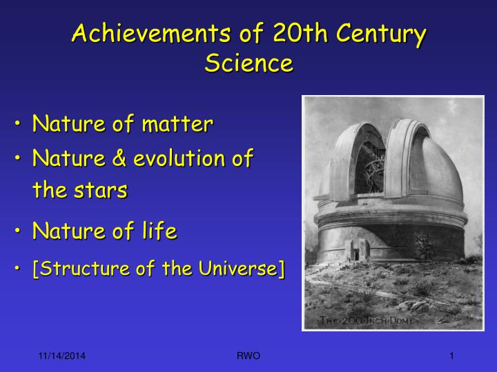 achievements of 20th century science n.