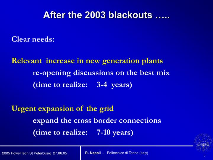 After the 2003 blackouts …..