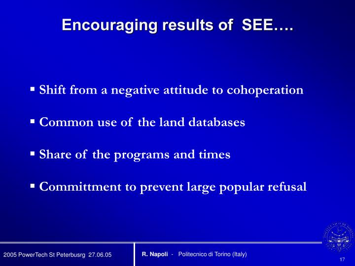 Encouraging results of  SEE….