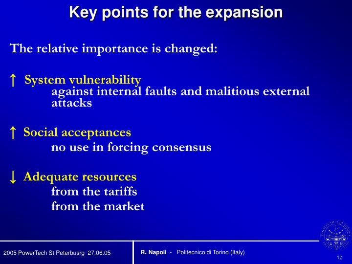 Key points for the expansion