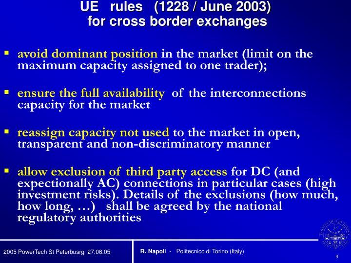 UE   rules   (1228 / June 2003)