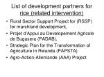 list of development partners for rice related intervention
