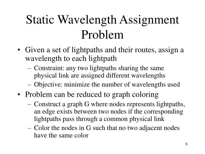 Static Wavelength Assignment Problem