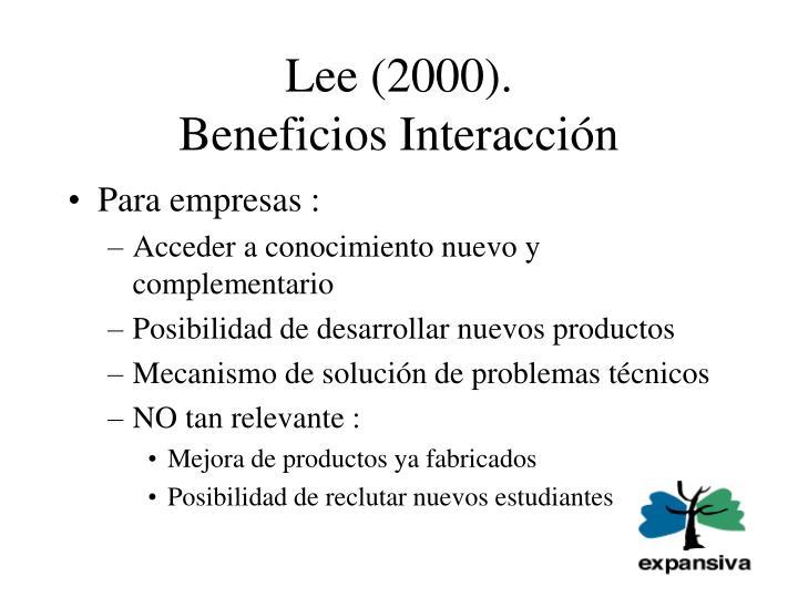 Lee 2000 beneficios interacci n