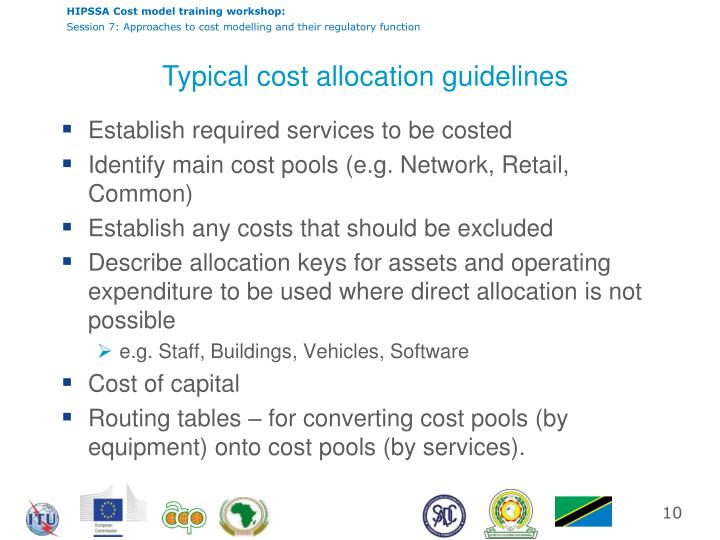 Typical cost allocation guidelines