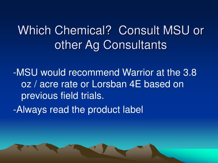 Which Chemical?  Consult MSU or other Ag Consultants