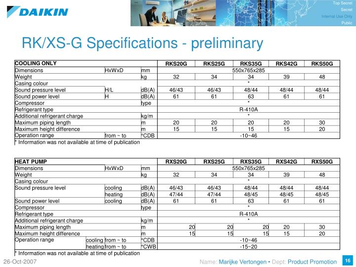 RK/XS-G Specifications - preliminary