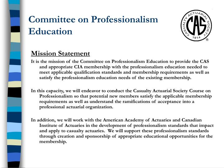 Committee on professionalism education