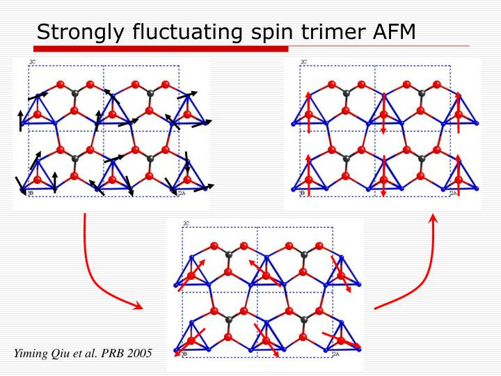 Strongly fluctuating spin trimer AFM