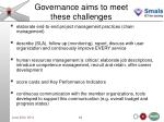 governance aims to meet these challenges
