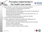 principles implemented in the health care sector3