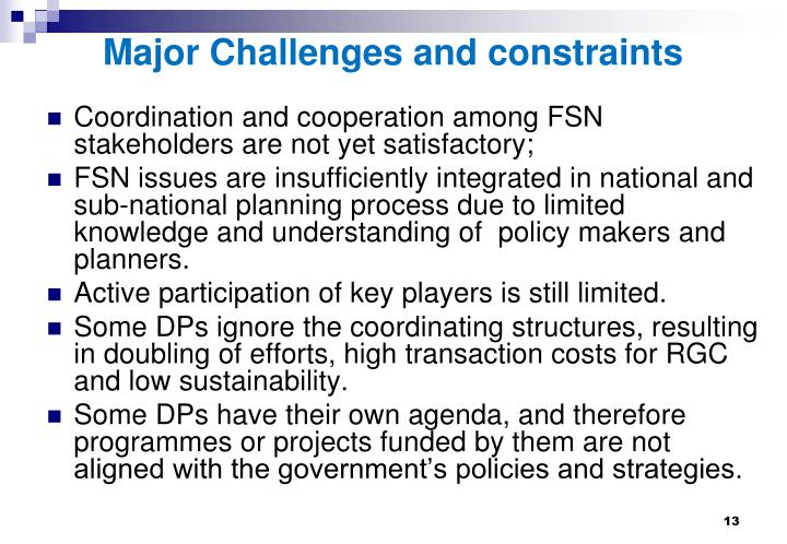 Major Challenges and constraints