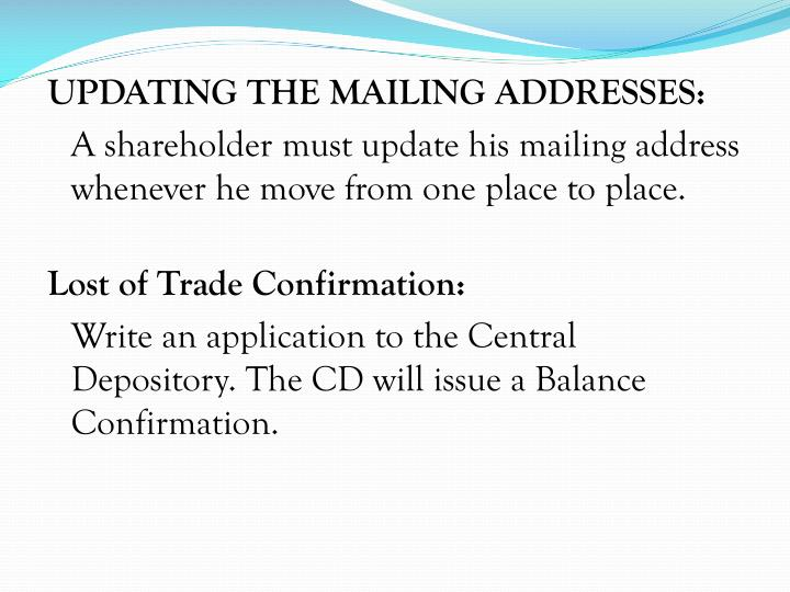 UPDATING THE MAILING ADDRESSES: