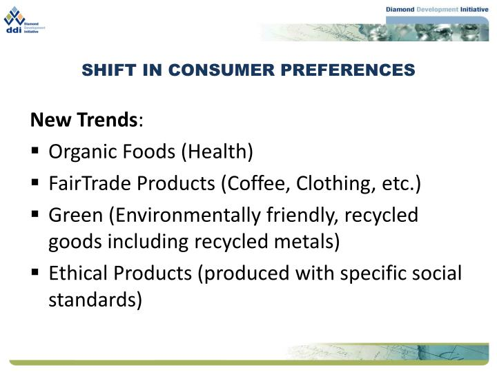 Shift in consumer preferences