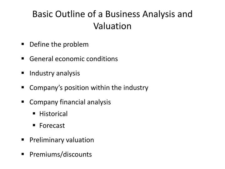 Basic outline of a business analysis and valuation