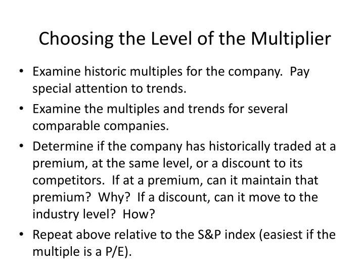 Choosing the Level of the Multiplier