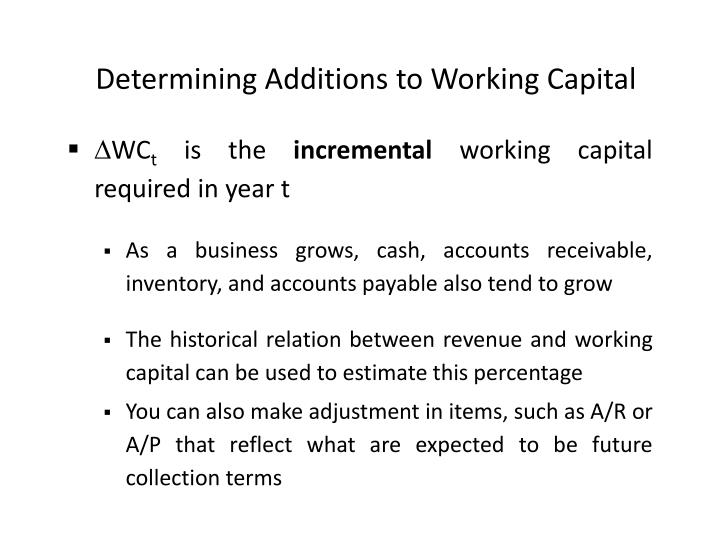 Determining Additions to Working Capital