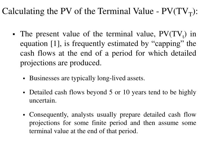 Calculating the PV of the Terminal Value - PV(TV
