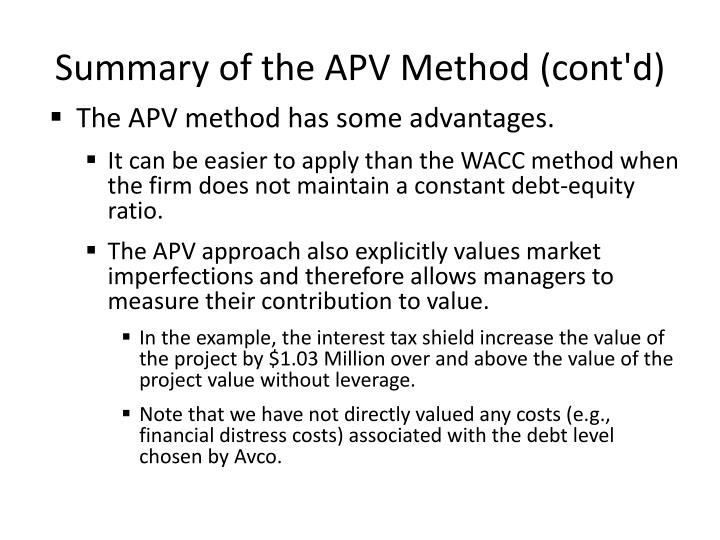Summary of the APV Method (cont'd)