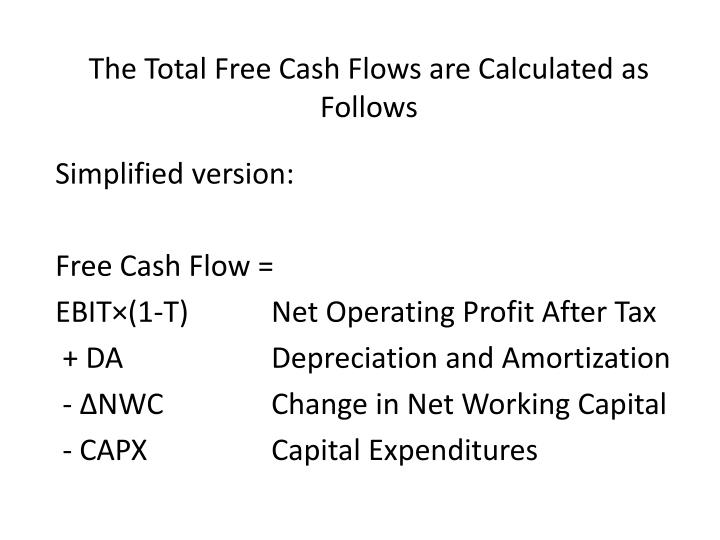The Total Free Cash Flows are Calculated as Follows