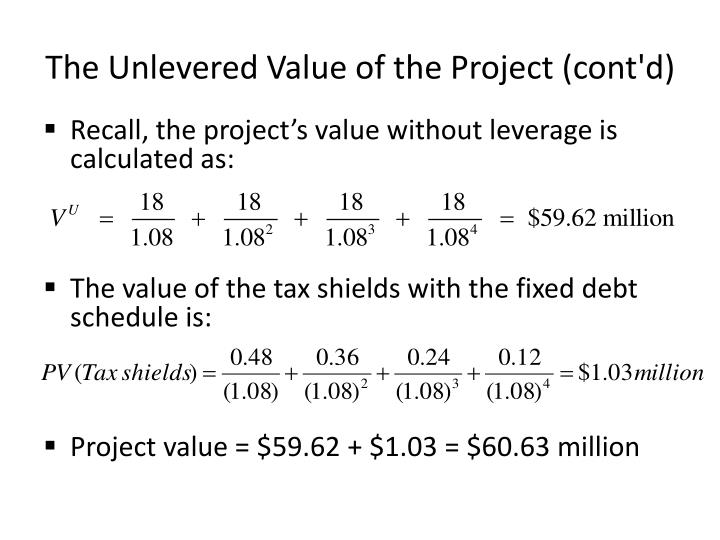 The Unlevered Value of the Project (cont'd)