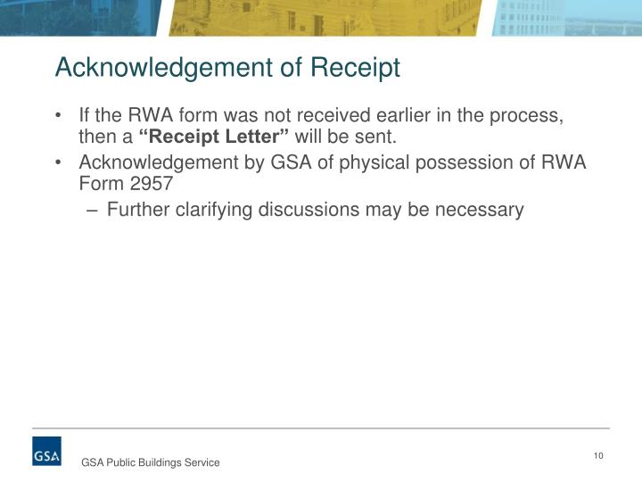Acknowledgement of Receipt