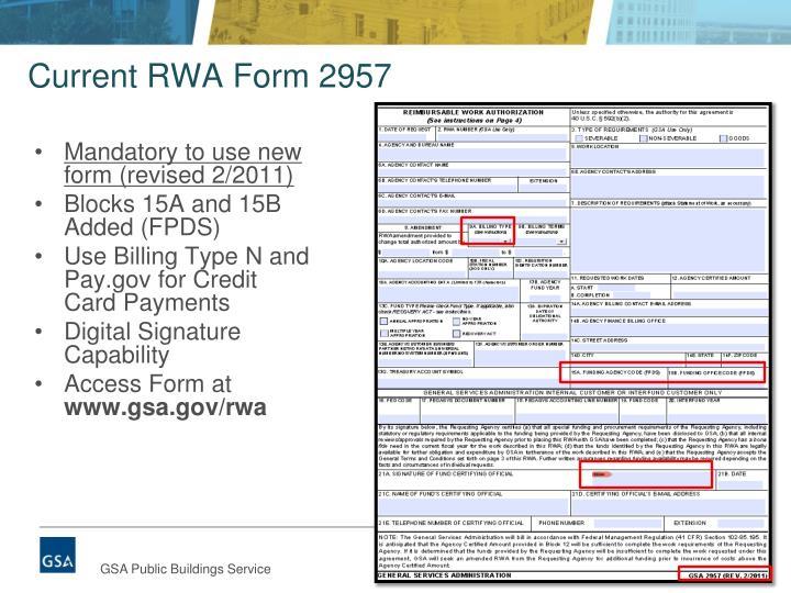 Current RWA Form 2957