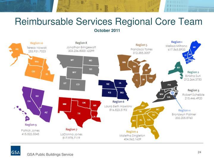 Reimbursable Services Regional Core Team