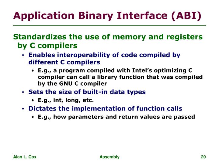 Application Binary Interface (ABI)