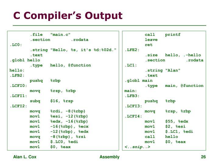C Compiler's Output