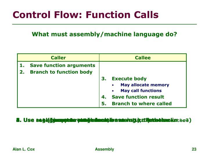 Control Flow: Function Calls