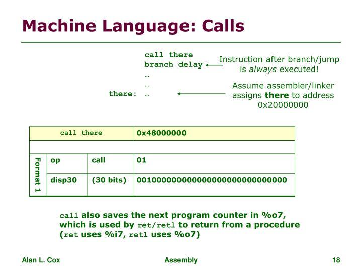 Machine Language: Calls