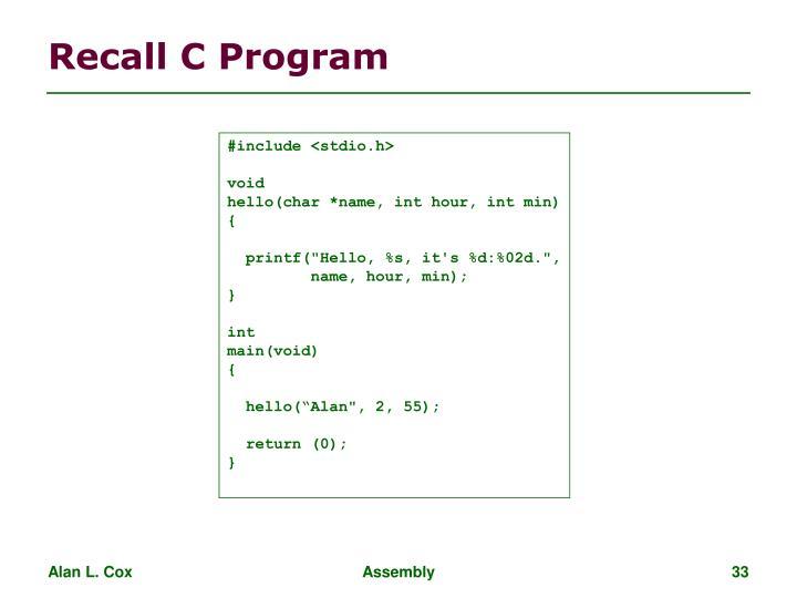 Recall C Program
