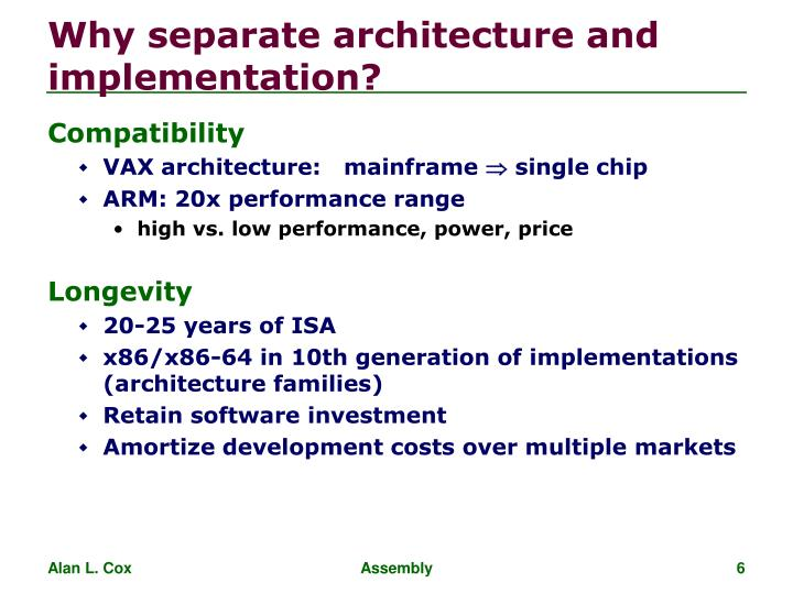 Why separate architecture and implementation?