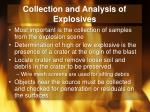 collection and analysis of explosives