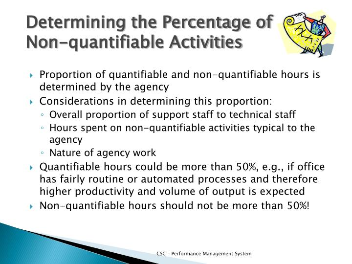 Determining the Percentage of Non-quantifiable Activities