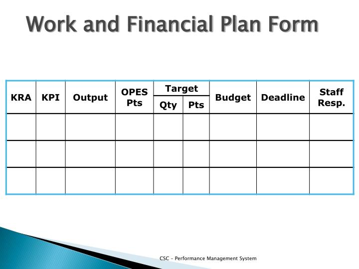 Work and Financial Plan Form