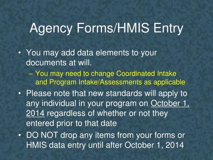 Agency Forms/HMIS Entry