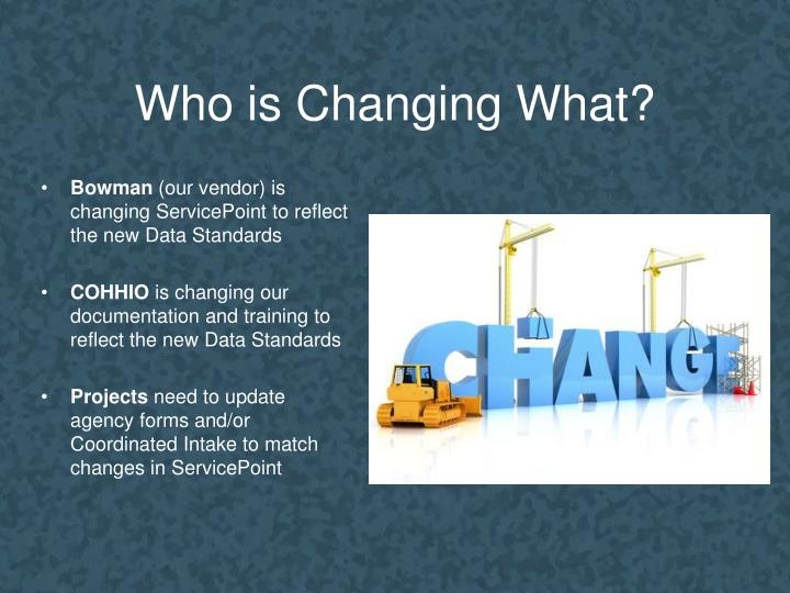 Who is Changing What?