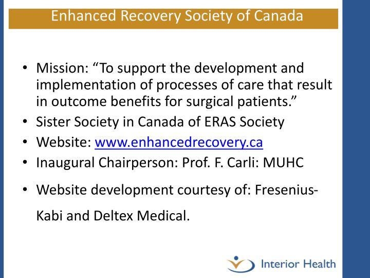 Enhanced Recovery Society of Canada