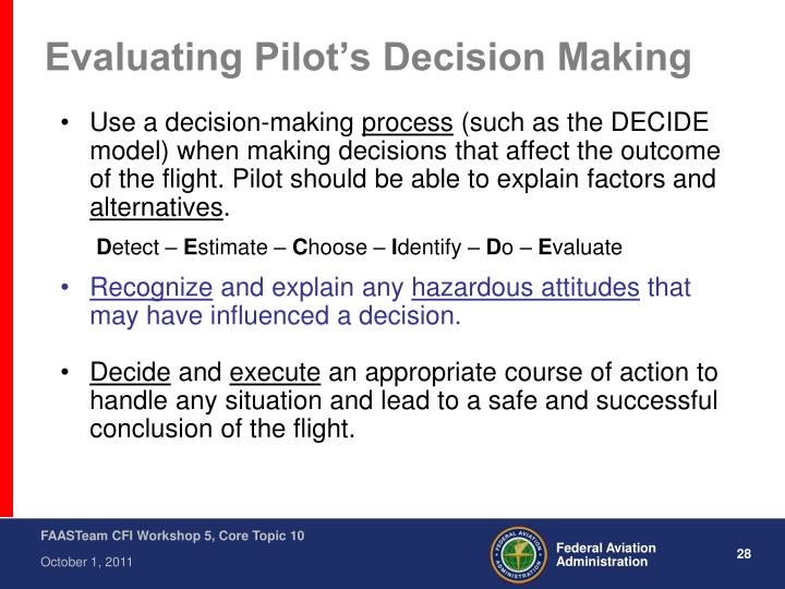 Evaluating Pilot's Decision Making