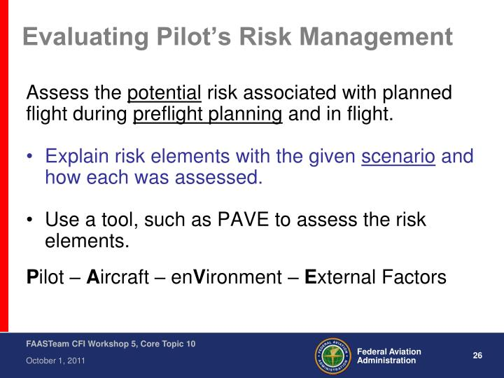 Evaluating Pilot's Risk Management