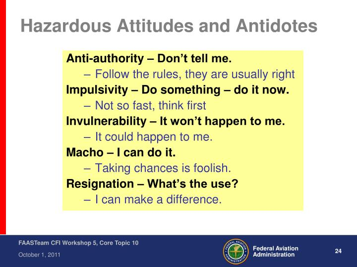 Hazardous Attitudes and Antidotes